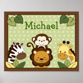 Safari Jungle Animal Nursery Wall Art Name Print