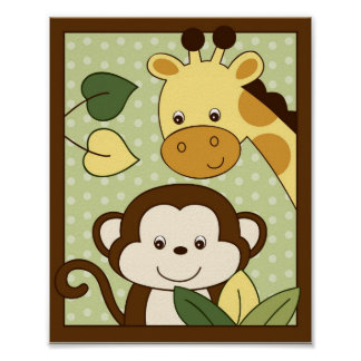 Safari Jungle Animal Nursery Wall Art Print 8X10