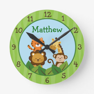 Safari Jungle Animal Nursery Wall Clock