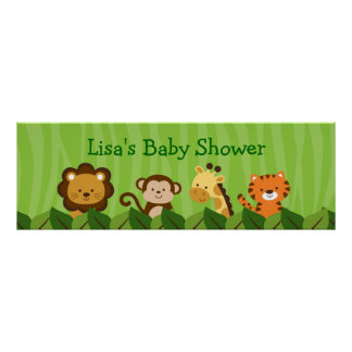 Safari Jungle Animal Personalized Banner Sign Poster