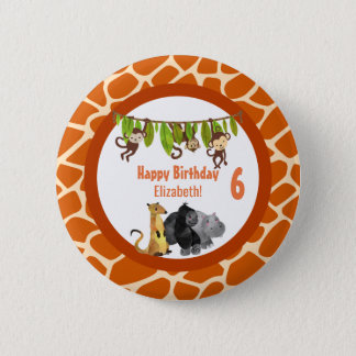 Safari Jungle Animal Theme Birthday 6 Cm Round Badge