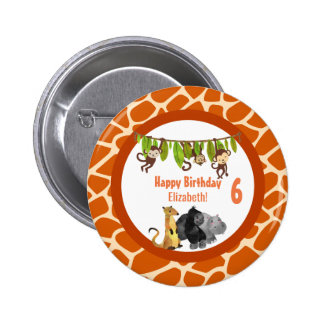 Safari Jungle Animal Theme Birthday 6 Cm Round Badge