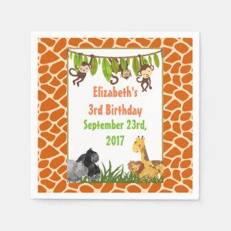 Safari Jungle Animal Theme Birthday Party Paper Serviettes