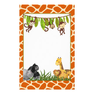 Safari Jungle Animal Theme Personalised Stationery