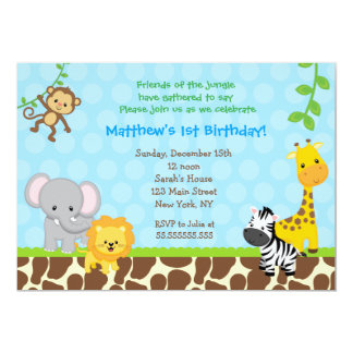 Safari Jungle Animals Birthday Party Invitations