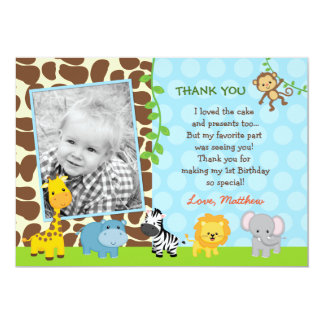 Safari Jungle Animals Birthday Thank You Note Card