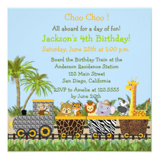 Safari Jungle Animals in Train Birthday Invitation