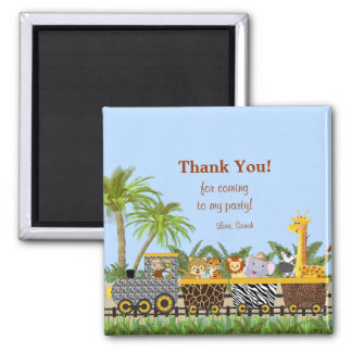 Safari Jungle Animals in Train Thank You Magnet
