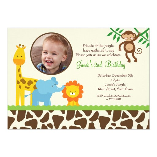 Safari Jungle Animals Photo Birthday Invitations