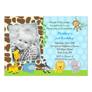 Safari Jungle  Animals Photo Birthday Invitations