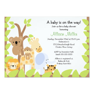 Safari Jungle Baby Animails Baby Shower Invitation