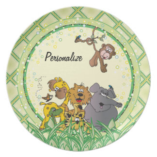 Safari Jungle Baby Animals Party Plate