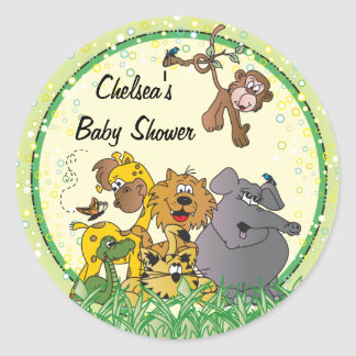 Safari Jungle Baby Animals Round Sticker