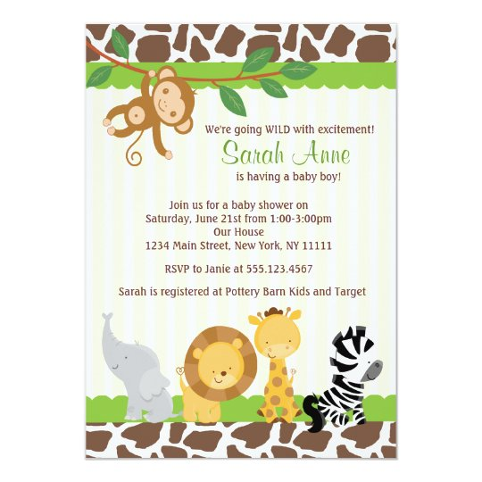 Safari Jungle Baby Boy Shower Invitation  ZazzleCoUk
