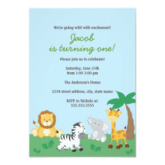 Safari Jungle Boy 1st Birthday Party Invitation