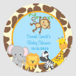 Safari Jungle Boy Baby Shower Favour Tags Stickers