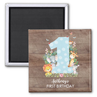 Safari Jungle Boys first Birthday Favor Magnet