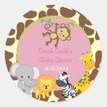 Safari Jungle Girl Baby Shower Favour Tags Round Sticker