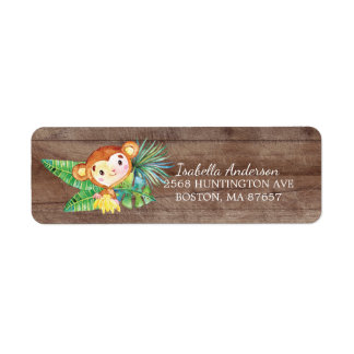 Safari Jungle Monkey Baby Shower Address Label