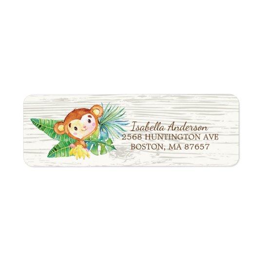 Safari Jungle Monkey Baby Shower Address Label
