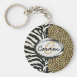 Safari Leopard and Zebra Print Monogram Keychains