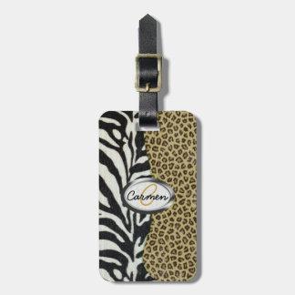 Safari Leopard and Zebra Print Monogram Luggage Tag