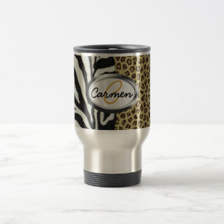 Safari Leopard and Zebra Print Monogram Travel Mug