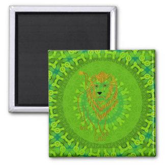 Safari Lion Mandala Square Magnet