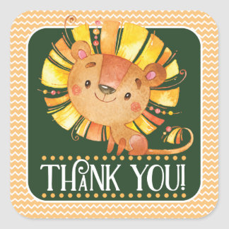 Safari Lion Thank You Sticker