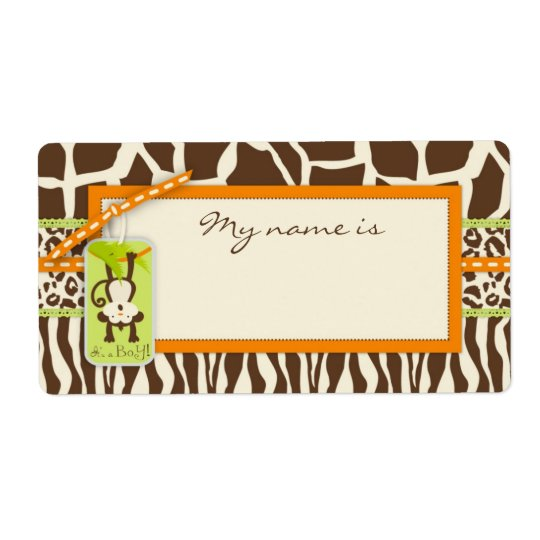 Safari Monkey Animal Print Baby Shower