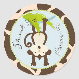 Safari Monkey Animal Print Baby Shower Classic Round Sticker