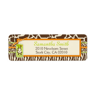 Safari Monkey Animal Print Return Address Label
