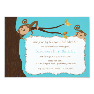 Safari Monkey Birthday Invitation