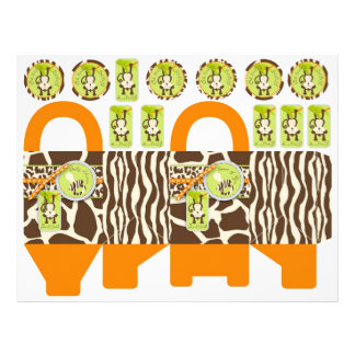 Safari Monkey & Pacifier Animal Print Box Template 21.5 Cm X 28 Cm Flyer