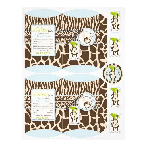 Safari Monkey & Pacifier Animal Print Box Template Flyers