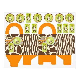 Safari Monkey & Pacifier Animal Print Box Template 21.5 Cm X 28 Cm Flyer