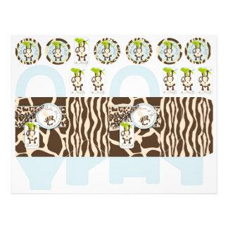 Safari Monkey & Pacifier Animal Print Box Template Personalized Flyer