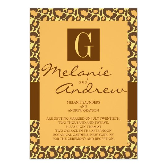 Safari Monogram Wedding Invitation Leopard Pattern