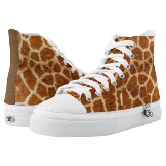 Safari Natural Brown Giraffe Fur Zipz High Top Printed Shoes