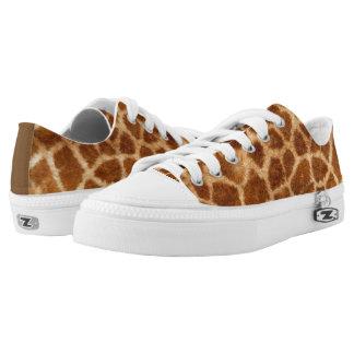 Safari Natural Brown Giraffe Fur Zipz Low Top Printed Shoes