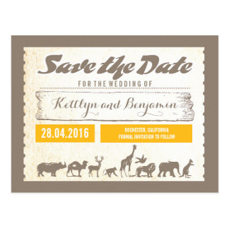 Safari or Zoo Wildlife Save the Date Postcards