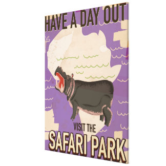 Safari Park vintage travel poster. Gallery Wrapped Canvas