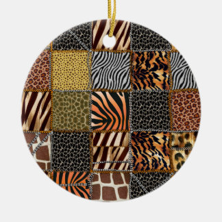 Safari patchwork Circle Ornament