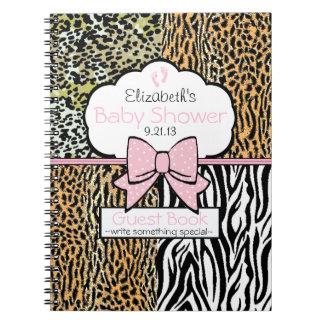 Safari Pink Baby Shower Guest Book- Spiral Notebook