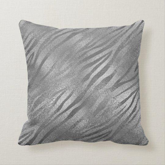 Safari Silver Grey Zebra Animal Glass Metallic Cushion