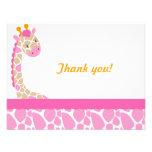 Safari Sweetness Giraffe  Thank you note-Pink Personalized Announcements