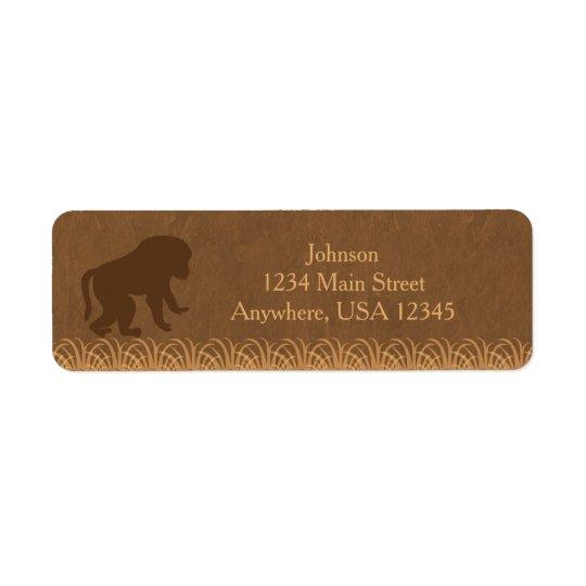 Safari Theme | Baboon Silhouette |  Personalised Return Address Label