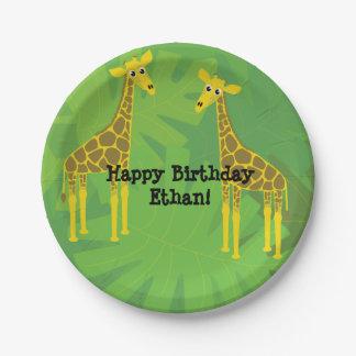 Safari theme birthday- giraffes 7 inch paper plate