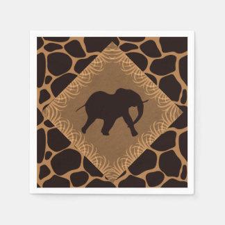 Safari Theme Elephant Over Giraffe Print Disposable Serviette