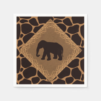 Safari Theme Elephant Over Giraffe Print Paper Serviettes